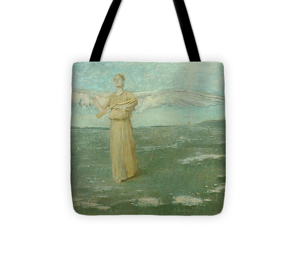 Dewing Tote Bag featuring the painting Tobias And The Angel, 1887 by Thomas Wilmer Dewing