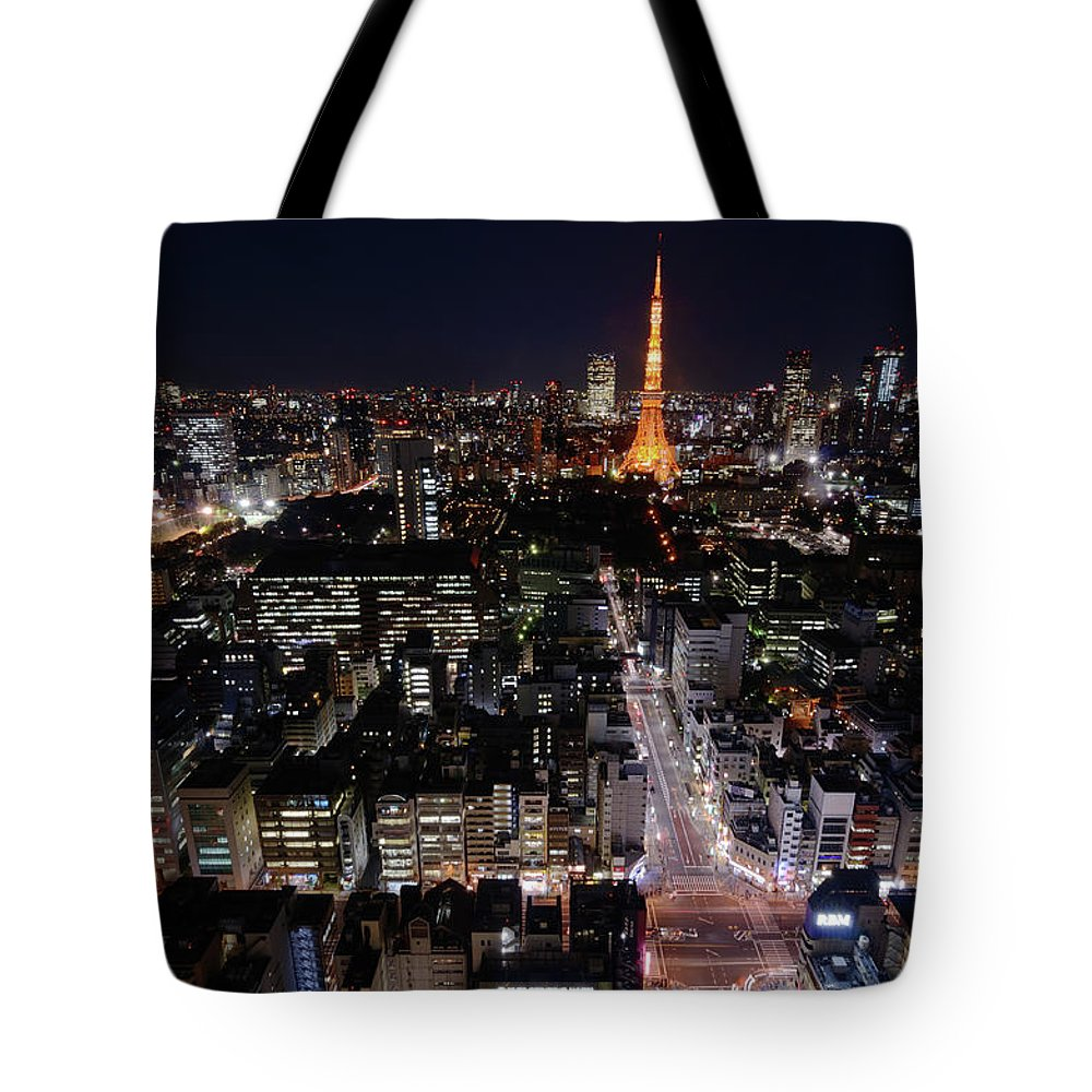 Tokyo Tower Tote Bag featuring the photograph Tokyo At Night by Sugimoto Yasuaki