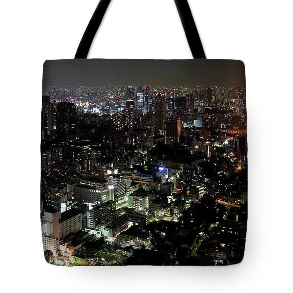 Tokyo Tower Tote Bag featuring the photograph Tokyo By Night Skyline, Japan by Fototrav