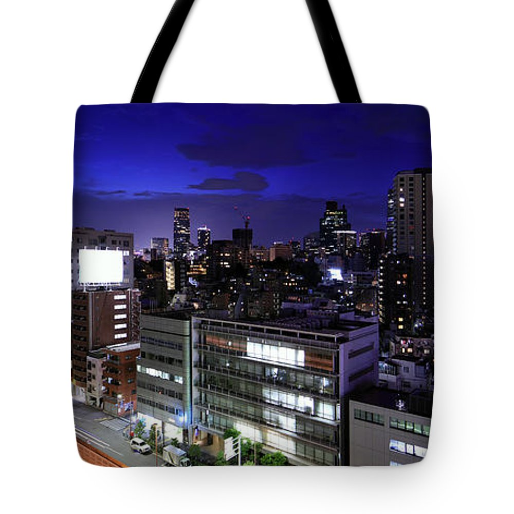 Tokyo Tower Tote Bag featuring the photograph Tokyo Panorama With Tokyo Tower by Krzysztof Baranowski