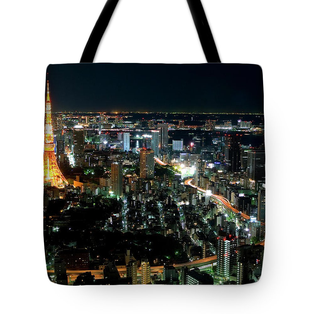 Tokyo Tower Tote Bag featuring the photograph Tokyo Tower by Andreas Jensen