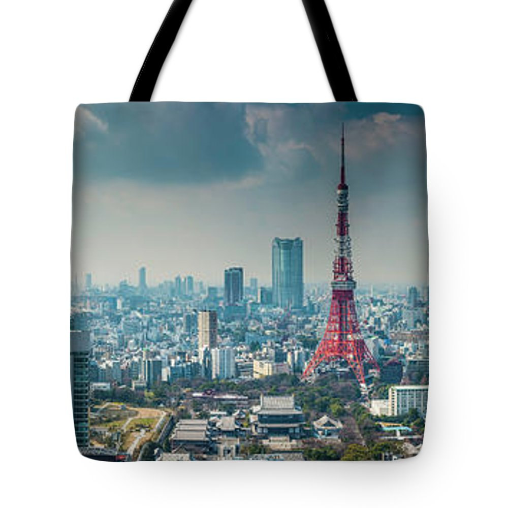 Tokyo Tower Tote Bag featuring the photograph Tokyo Tower Futuristic Skyscraper by Fotovoyager