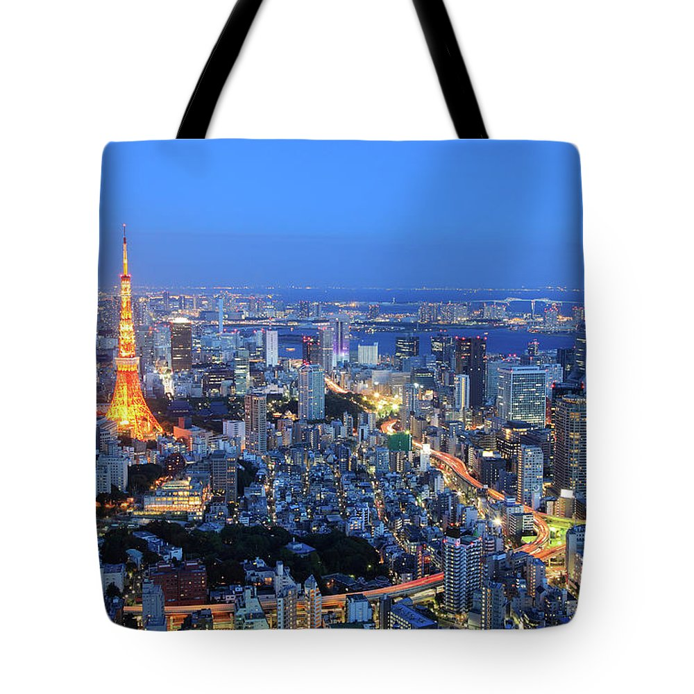 Tokyo Tower Tote Bag featuring the photograph Tokyo Tower View From Mori Tower by Krzysztof Baranowski
