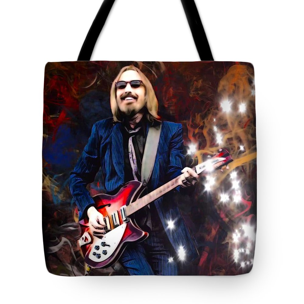 Tom Petty Tote Bag featuring the digital art Tom Petty Portrait by Scott Wallace Digital Designs