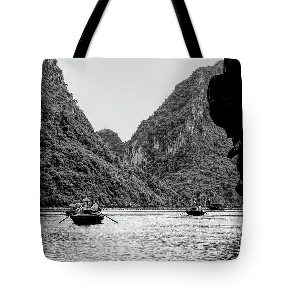 Vietnam Tote Bag featuring the photograph Touring Ha Long Bay Row Boats People Bw by Chuck Kuhn