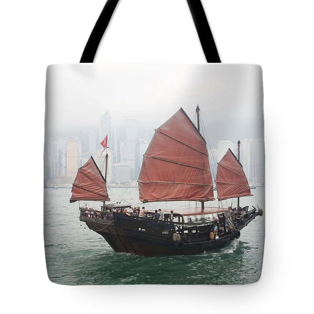 Outdoors Tote Bag featuring the photograph Tourist Junk On Cruise by Romana Chapman