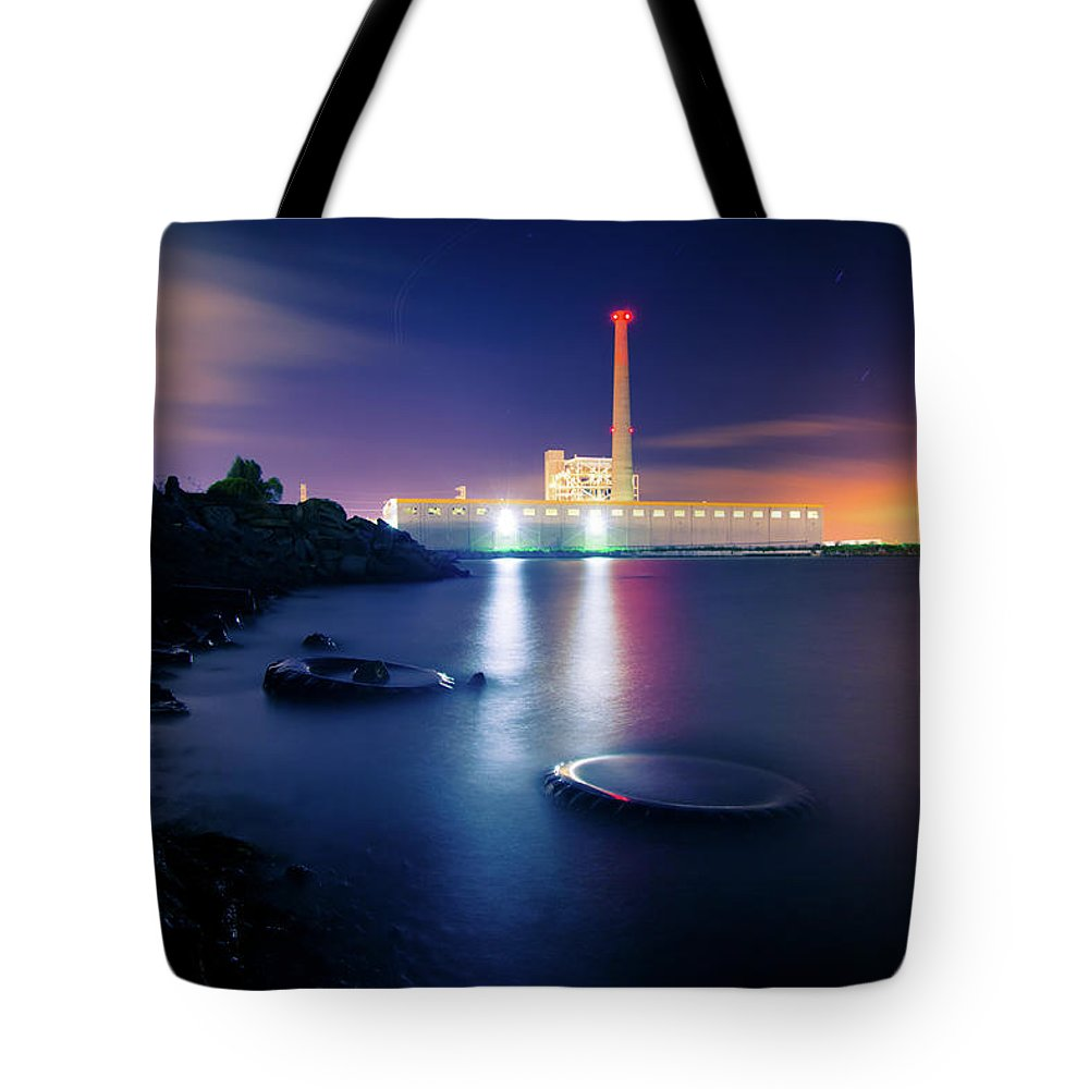 Industrial District Tote Bag featuring the photograph Toxic Beach With Power Plant by Hal Bergman