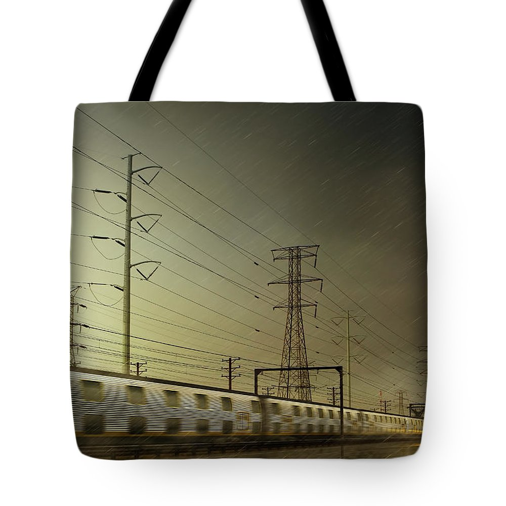 Train Tote Bag featuring the digital art Train Speeding By Power Lines by Chris Clor