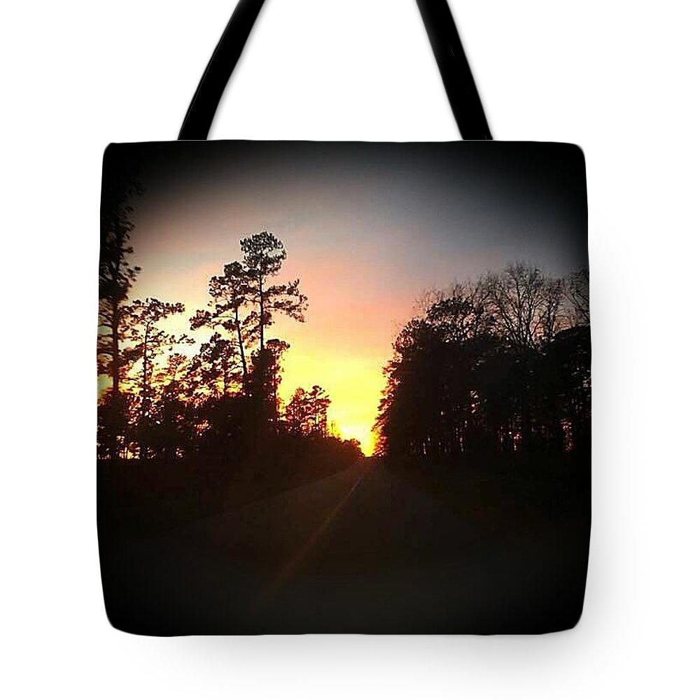 Landscape Tote Bag featuring the digital art Traveled Road by Nichole King