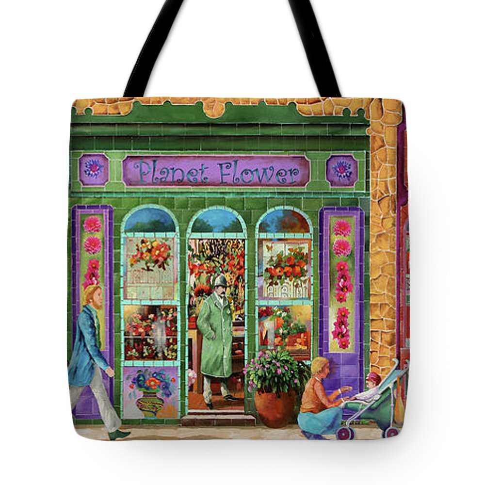 Shop Tote Bag featuring the painting Tre Negozi by Guido Borelli
