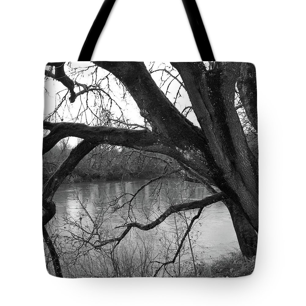Black And White Tote Bag featuring the photograph Tree By The River by Alina Avanesian