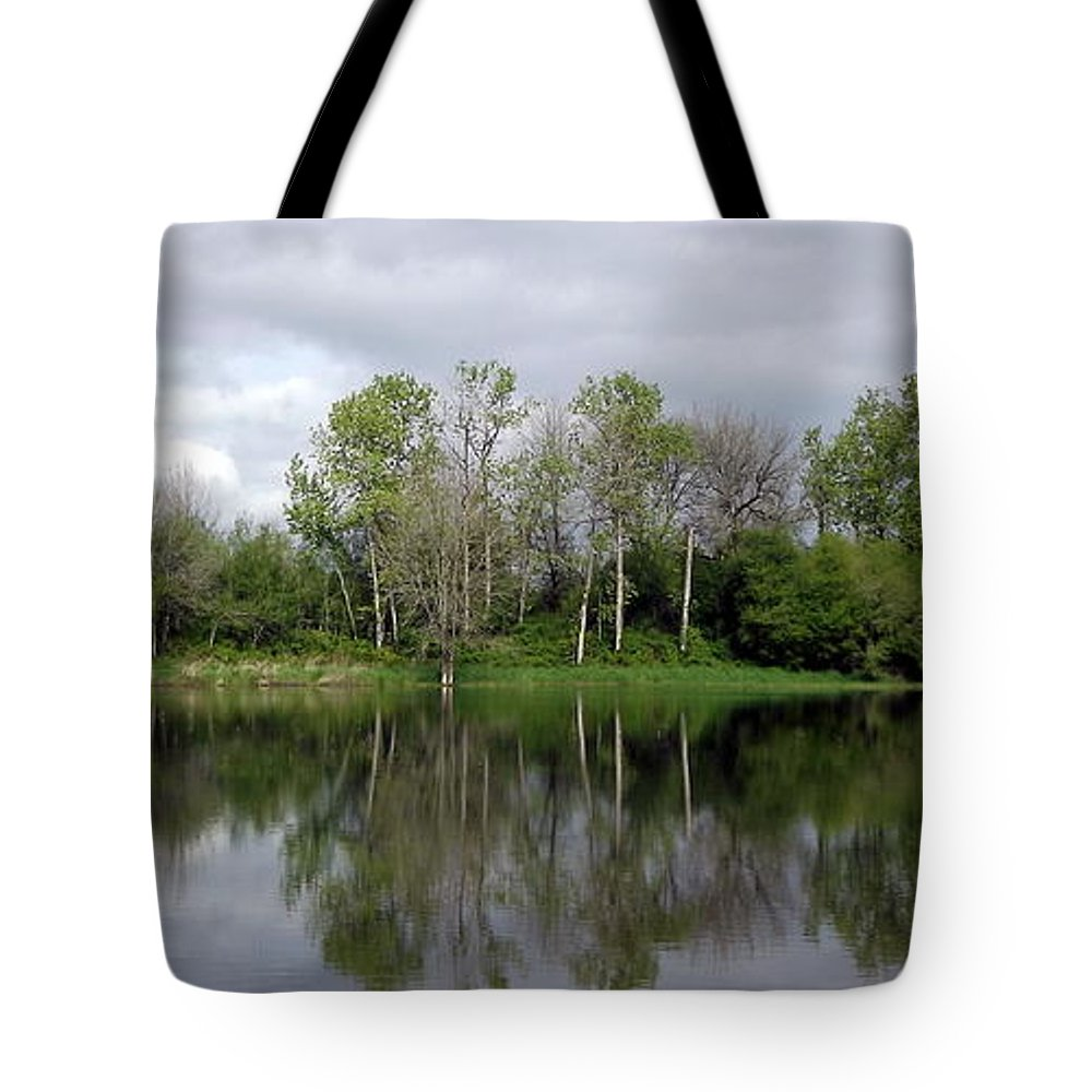 Trees Tote Bag featuring the pyrography Tree Reflections by Linda Vanoudenhaegen