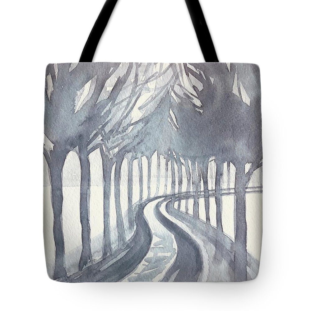 Trees Tote Bag featuring the painting Trees On a Winter Day by Luisa Millicent