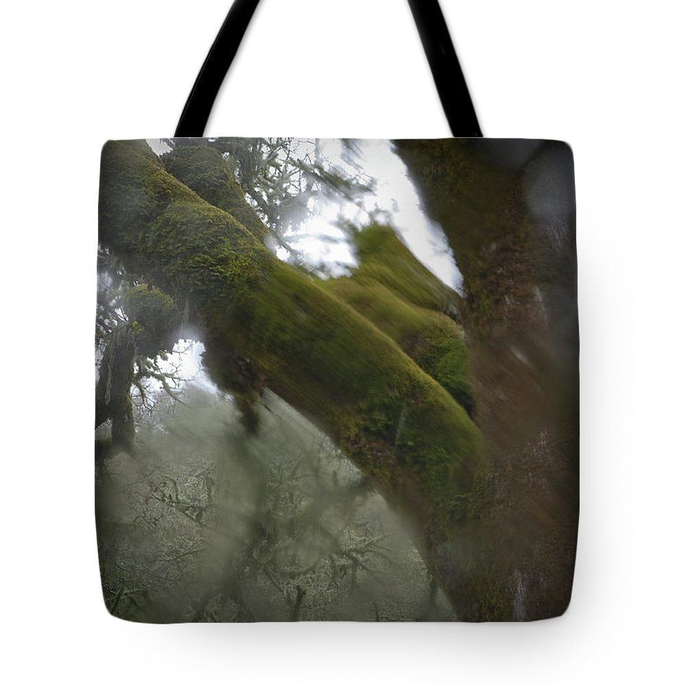 Horror Tote Bag featuring the photograph Trees Through Car Windshield In Rain by Diane Miller