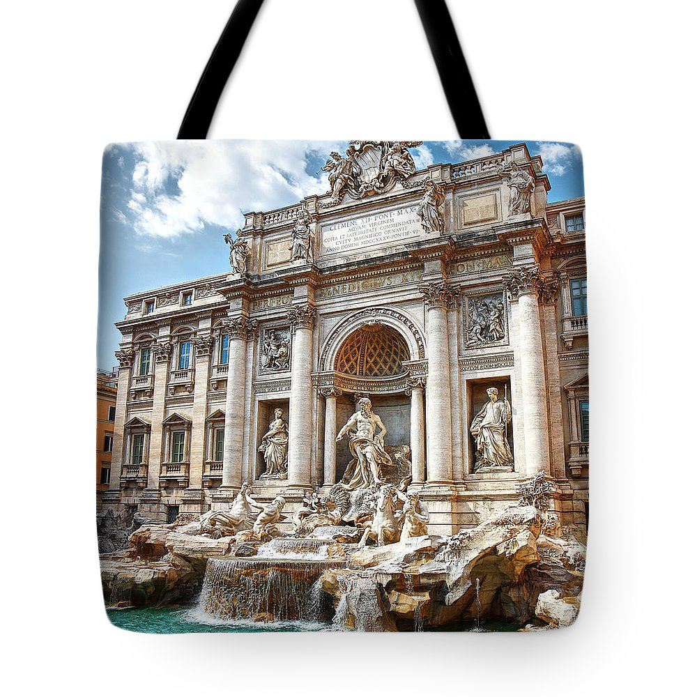 Arch Tote Bag featuring the photograph Trevi Fountain by Maria Wachala