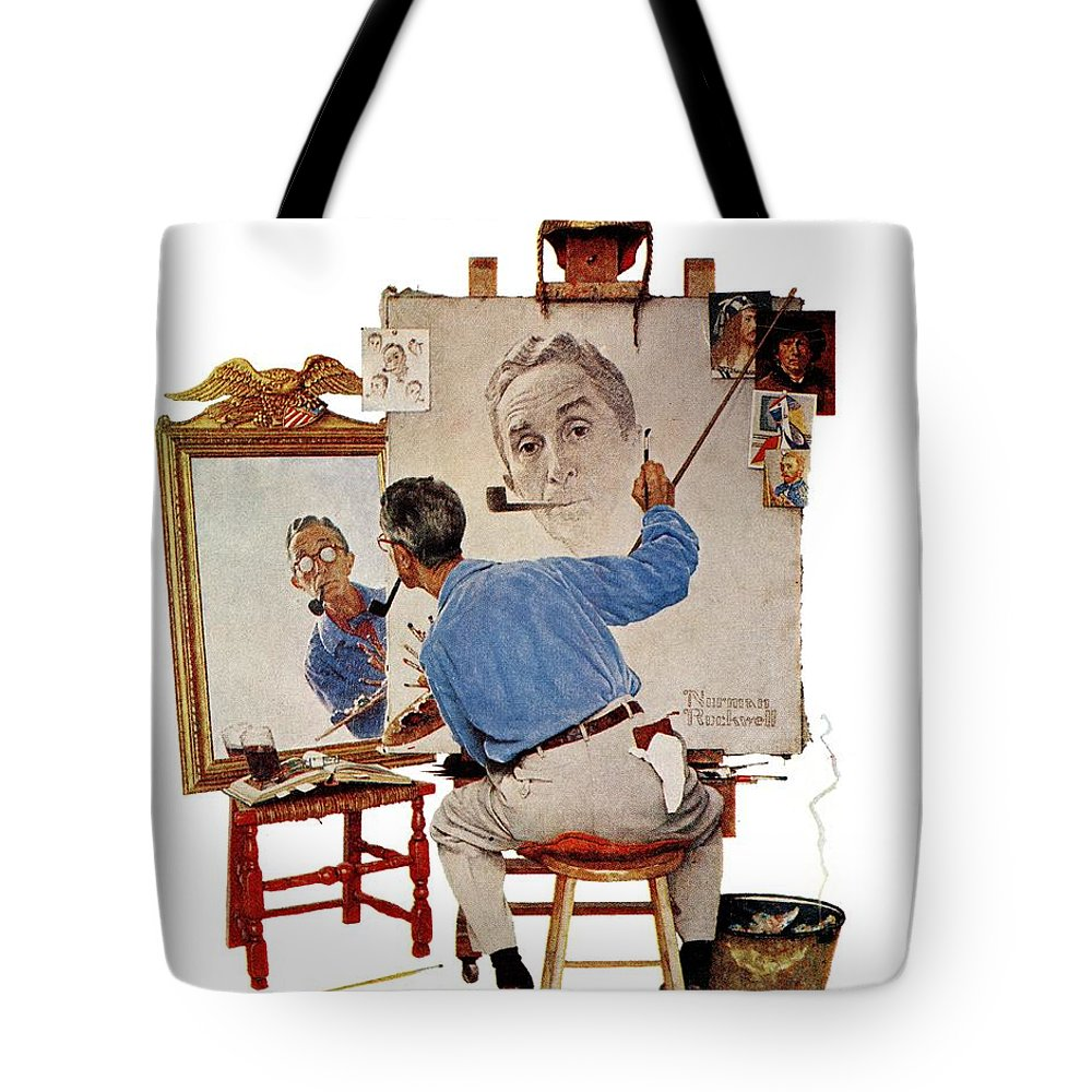 Artists Tote Bag featuring the drawing Triple Self-portrait by Norman Rockwell