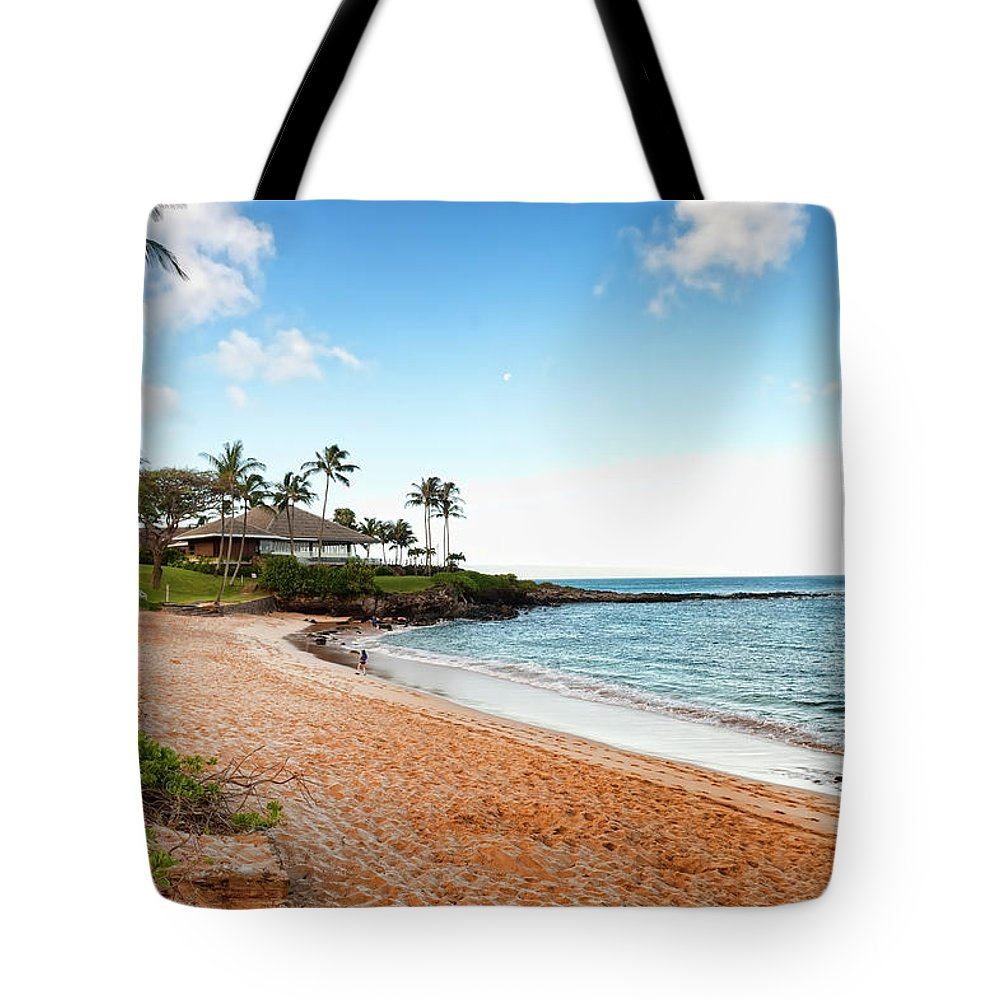 Water's Edge Tote Bag featuring the photograph Tropical Beach Paradise by Rontech2000