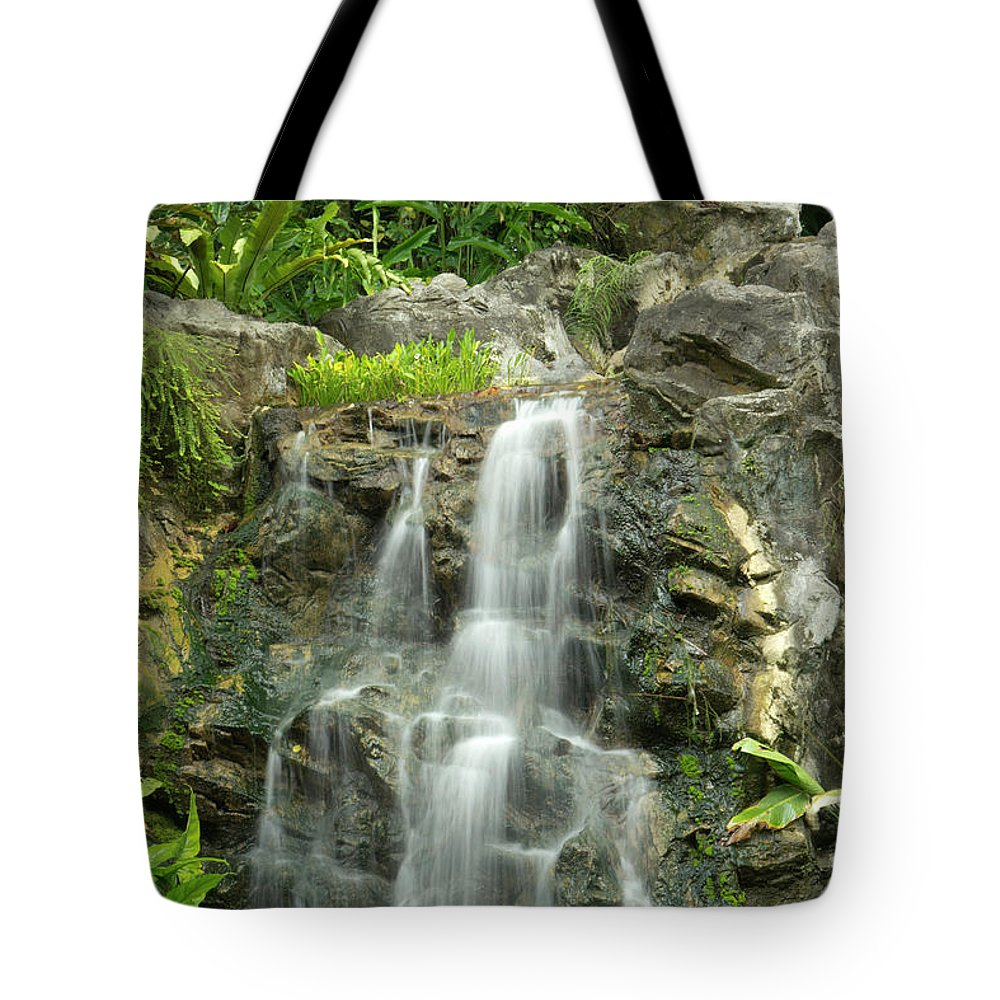 Tropical Rainforest Tote Bag featuring the photograph Tropical Rainforest And Waterfall by Travelpix Ltd