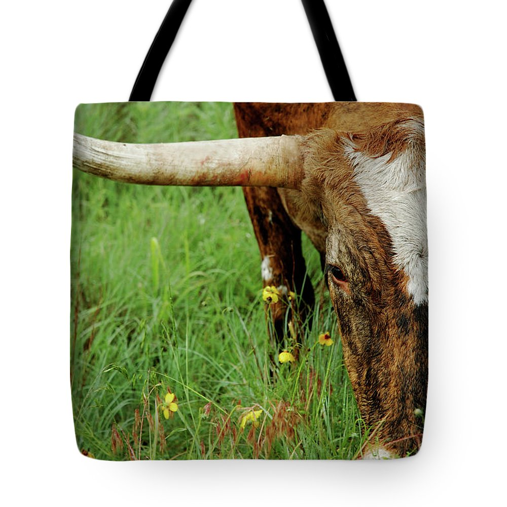 Horned Tote Bag featuring the photograph True Texas Longhorn by Flashpoint