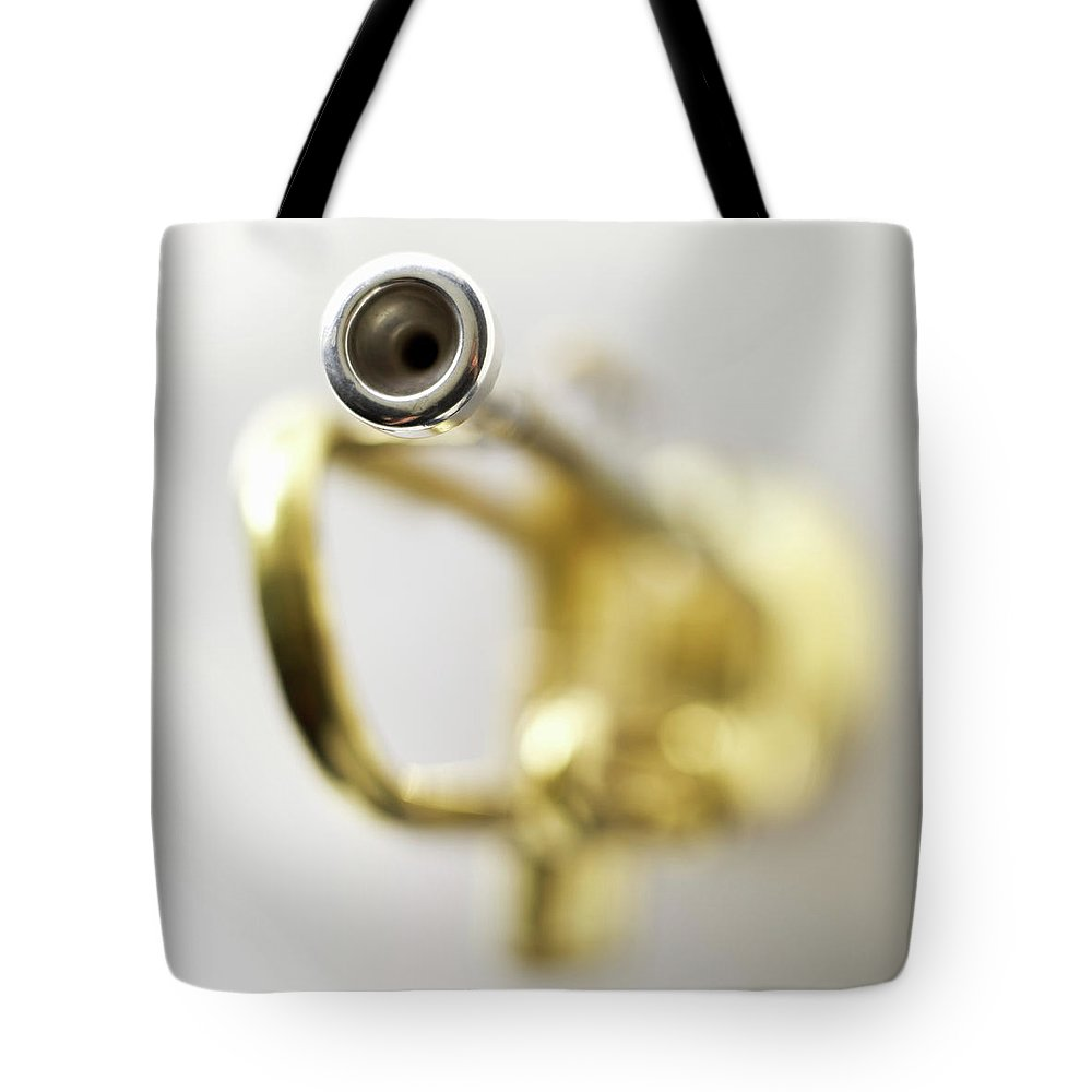 White Background Tote Bag featuring the photograph Trumpet, Focus On Mouth Piece by Stockbyte