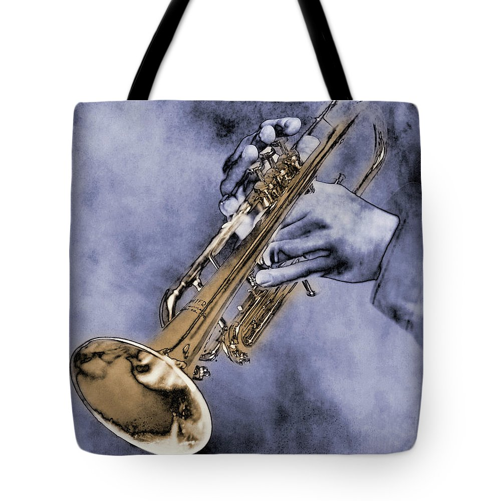 One Man Only Tote Bag featuring the digital art Trumpet Player by Nick White
