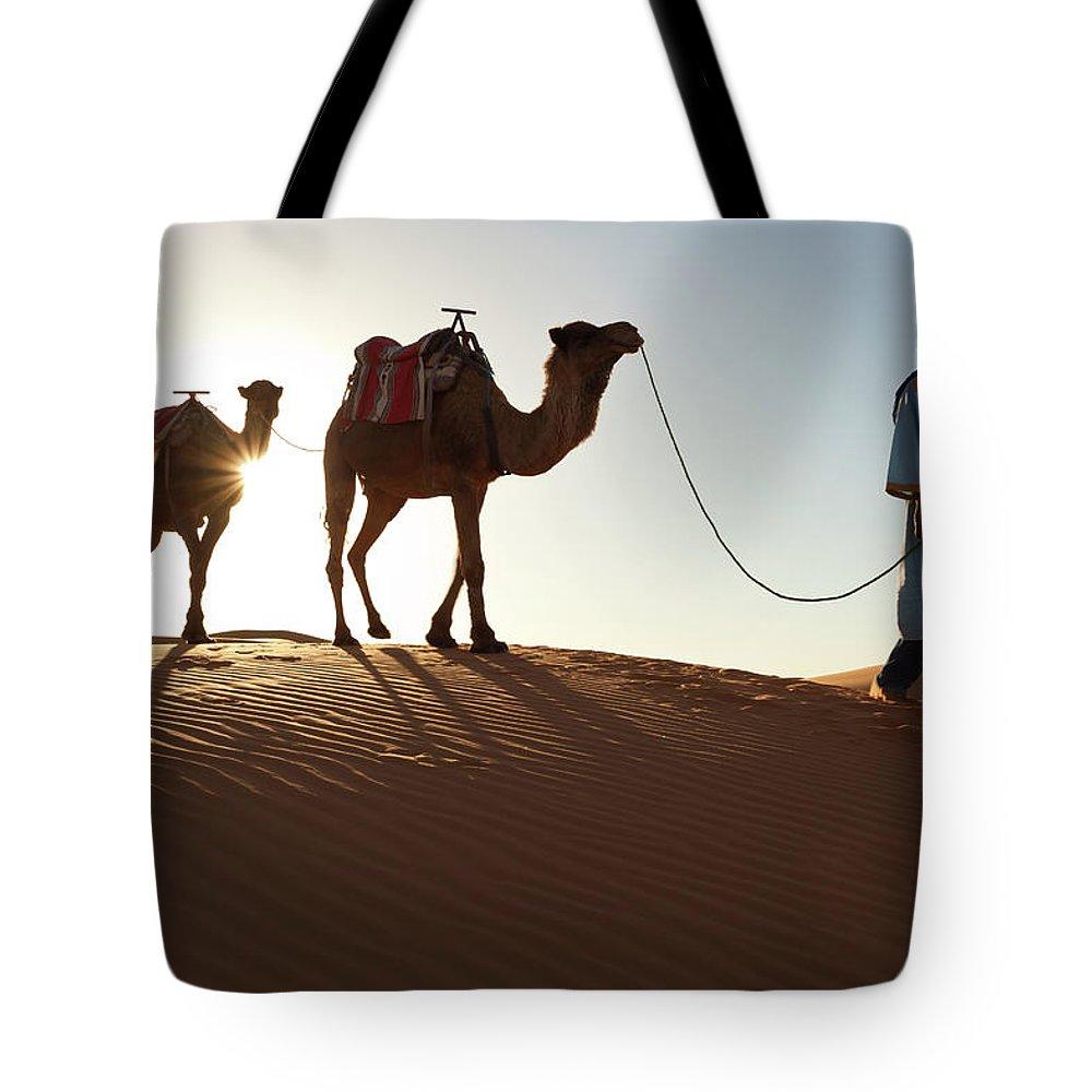 People Tote Bag featuring the photograph Tuareg Man & Camels, Erg Chebbi, Sahara by Peter Adams