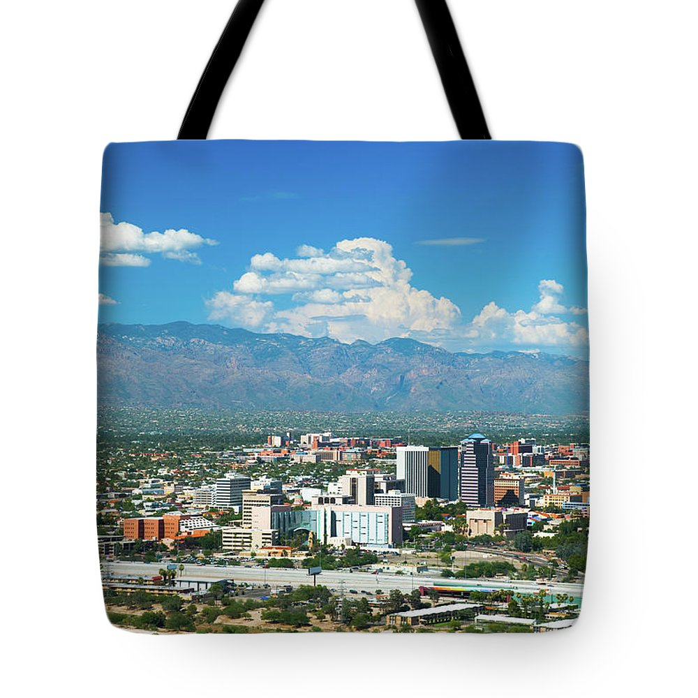 Downtown District Tote Bag featuring the photograph Tucson Skyline, Mountains, And Clouds by Davel5957