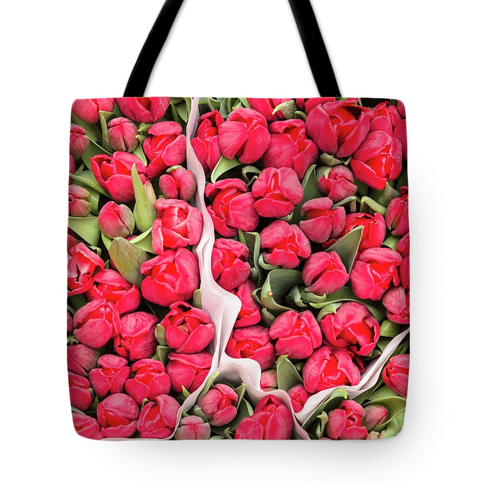 North Holland Tote Bag featuring the photograph Tulips For Sale At A Flower Market by P A Thompson