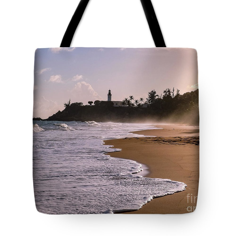 Ocean Tote Bag featuring the photograph Tuna Punta Lighthouse And Beach In Puerto Rico by G Matthew Laughton