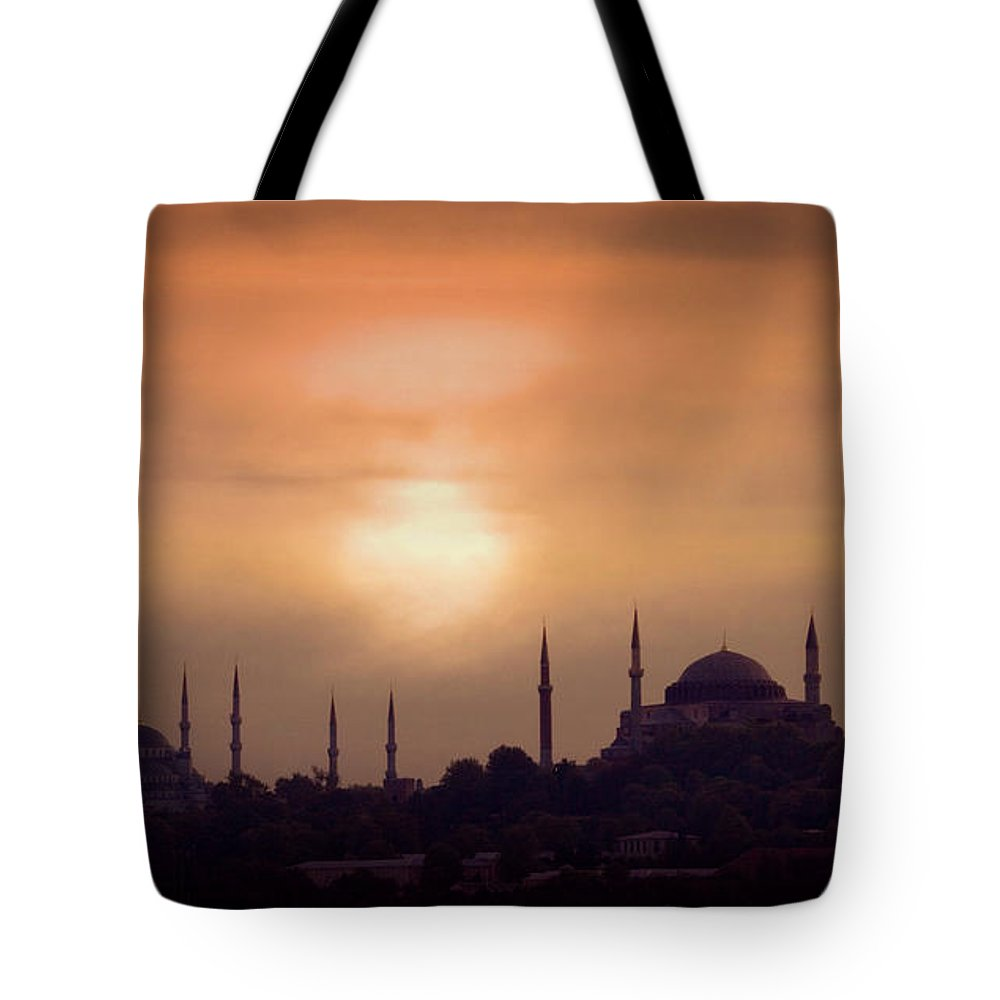 Scenics Tote Bag featuring the photograph Turkey, Istanbul, Blue Mosque And Hagia by Daryl Benson
