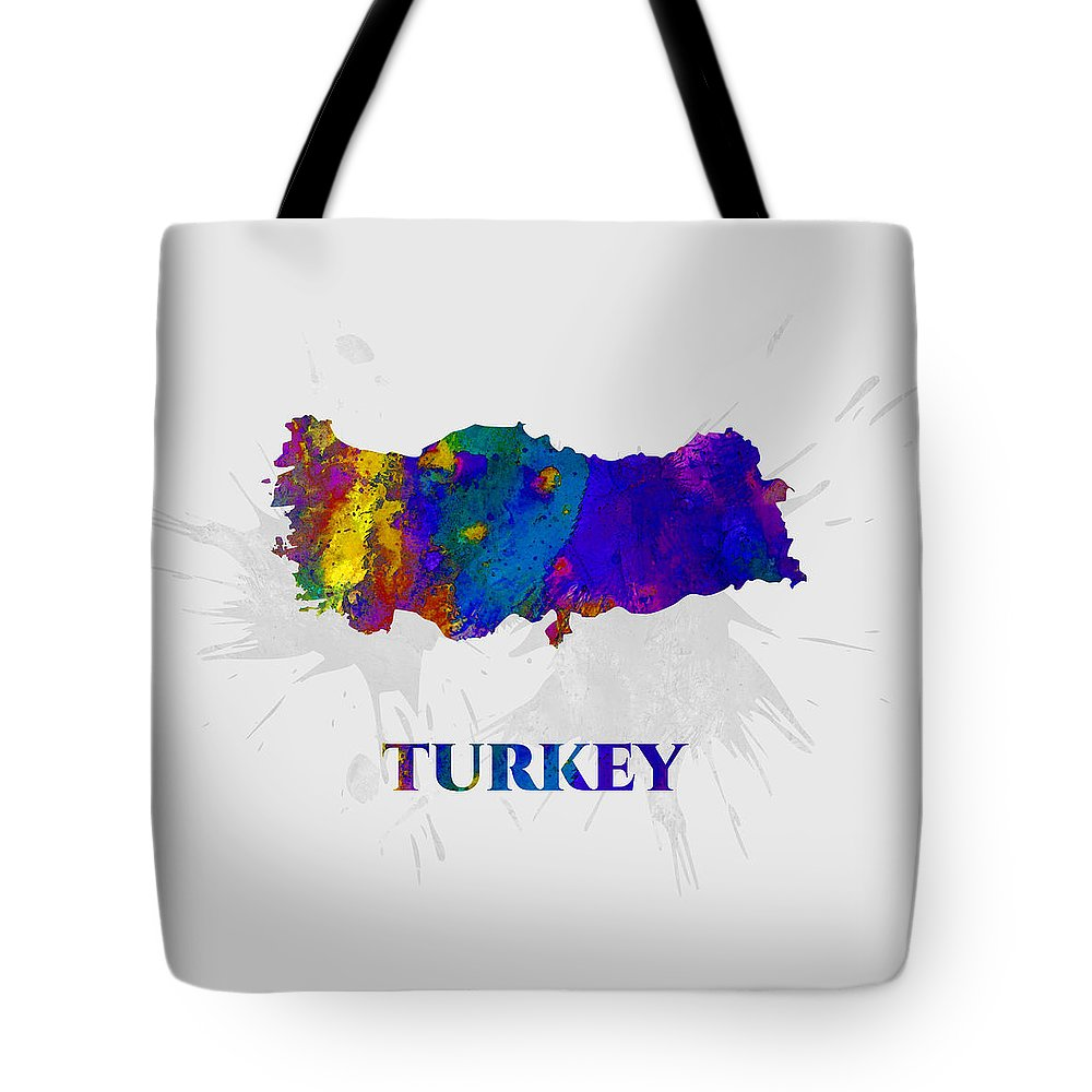 Turkey Tote Bag featuring the mixed media Turkey, Map, Artist Singh by Artist Singh MAPS