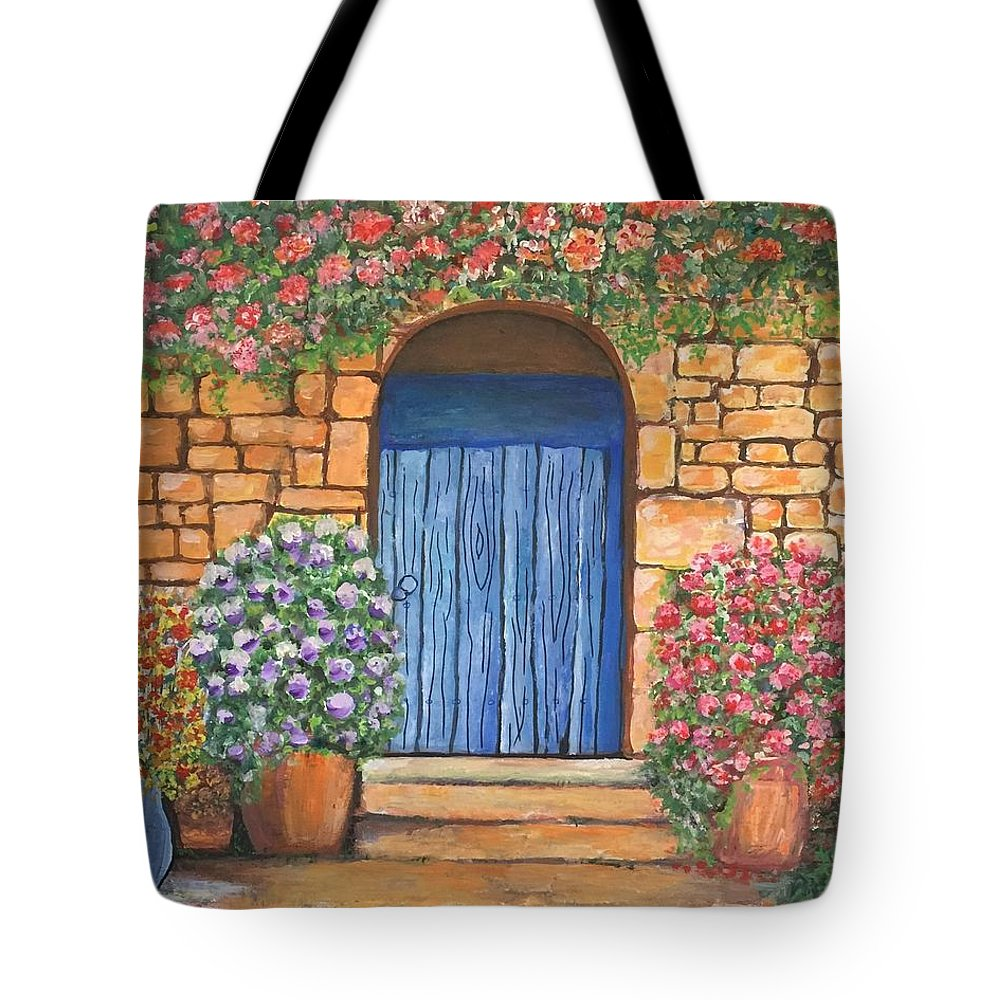 Tote Bag featuring the painting Tuscan Door, 16x20, Acrylic, 2018 by Lac Buffamonti