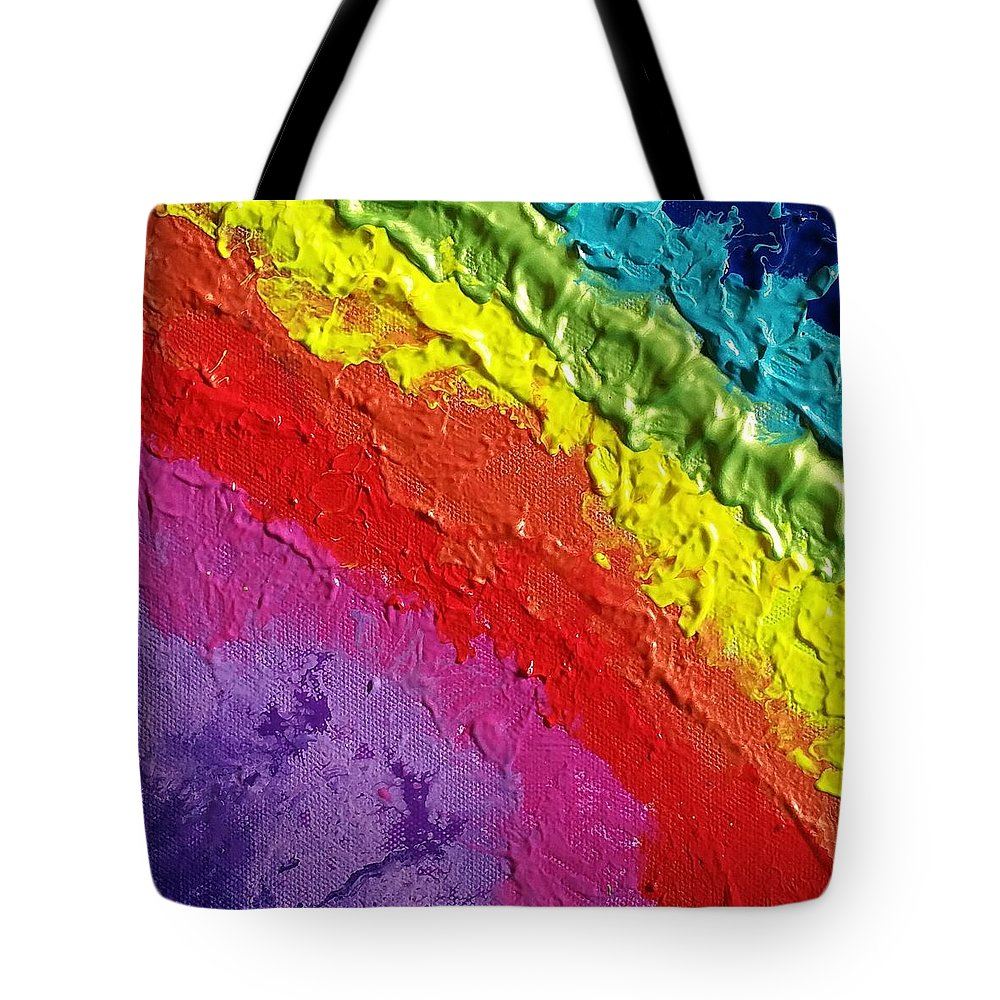 Acrylics Tote Bag featuring the painting Twinkling Rainbow by Paola Baroni