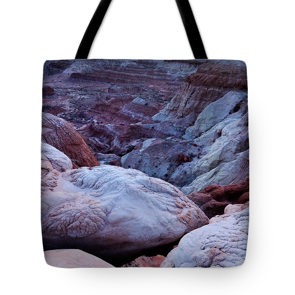 Scenics Tote Bag featuring the photograph Twilight Landscape At Paria Rimrocks by Rezus