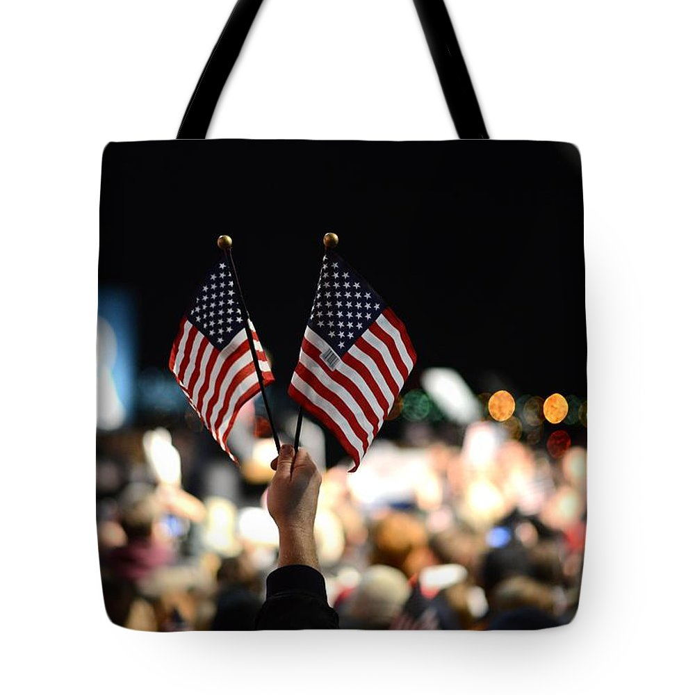 Crowd Tote Bag featuring the photograph Twin Flags by Mikael Törnwall