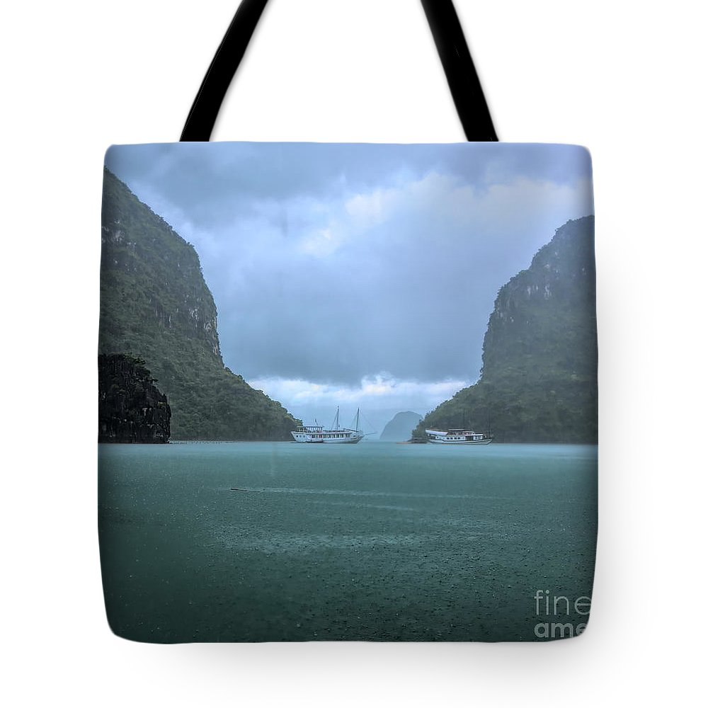 Vietnam Tote Bag featuring the photograph Twin Limestones Cruise Ships Ha Long Bay by Chuck Kuhn