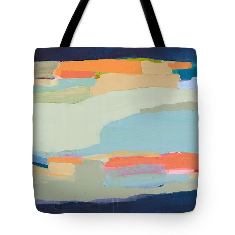 Abstract Tote Bag featuring the painting Two Beige Dogs by Claire Desjardins