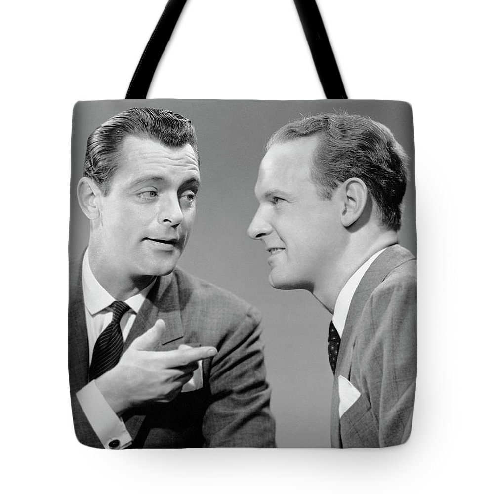 People Tote Bag featuring the photograph Two Businessmen In Meeting by George Marks