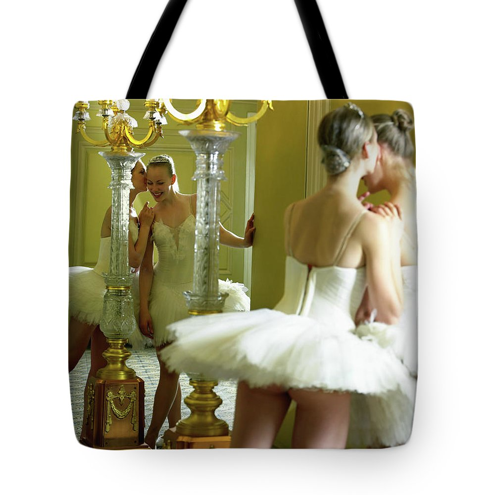 Ballet Dancer Tote Bag featuring the photograph Two Teenage Ballet Dancers 13-15 In by Hans Neleman