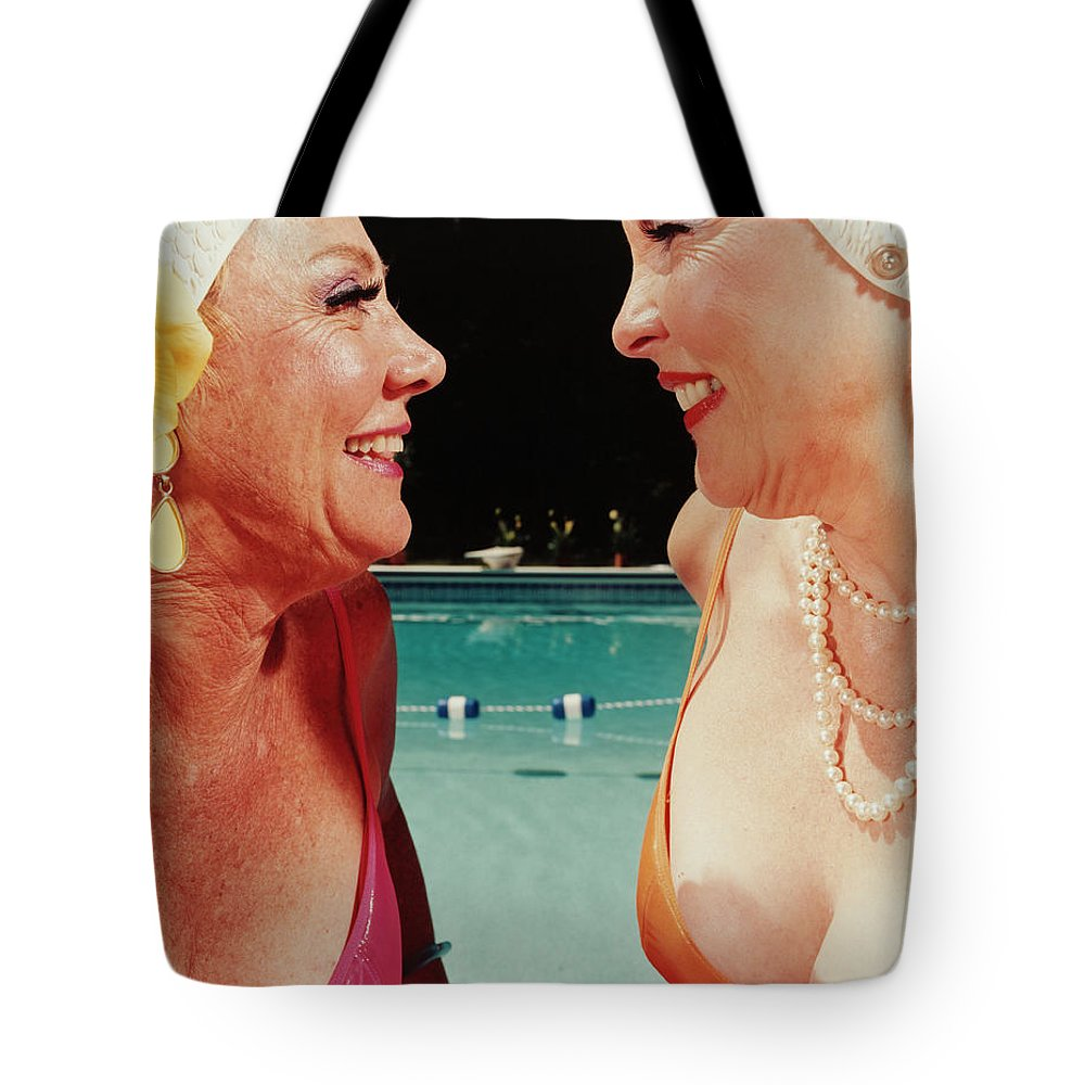 Mature Adult Tote Bag featuring the photograph Two Women By Pool by Silvia Otte