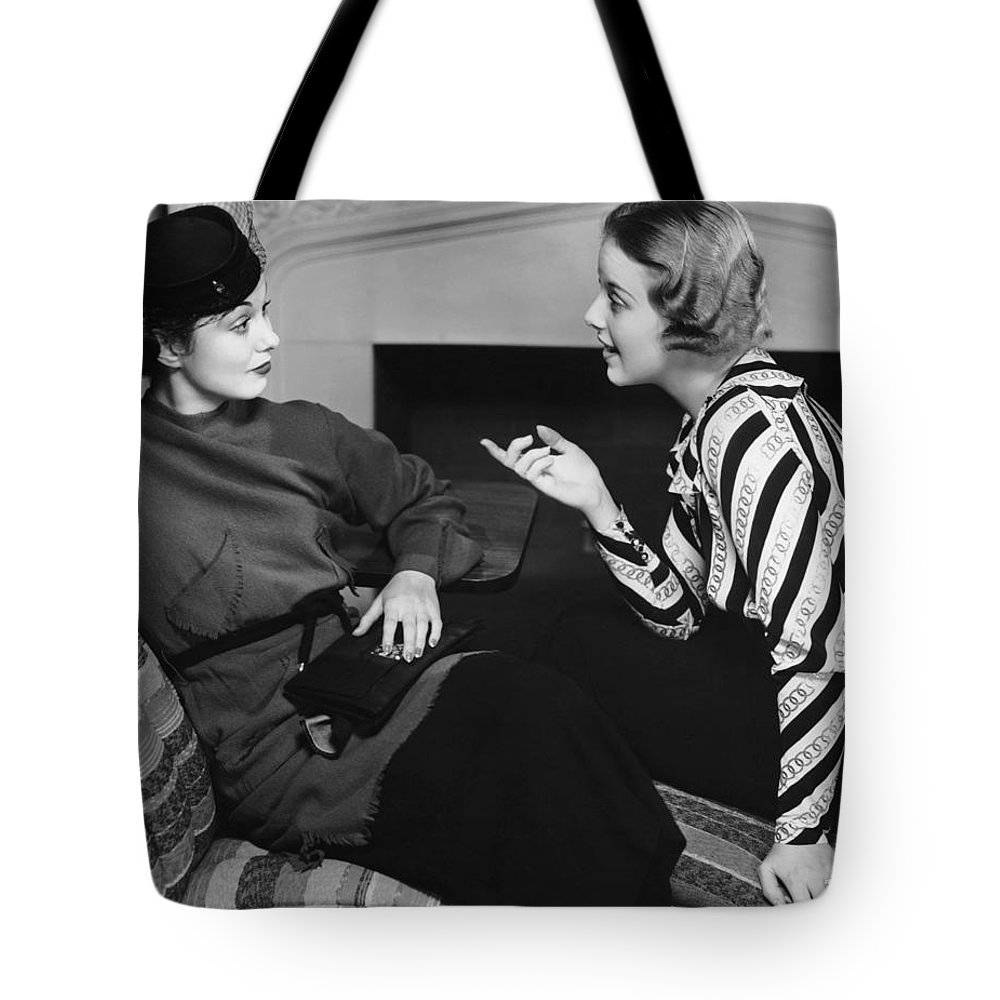 Three Quarter Length Tote Bag featuring the photograph Two Women In Casual Conversation by George Marks
