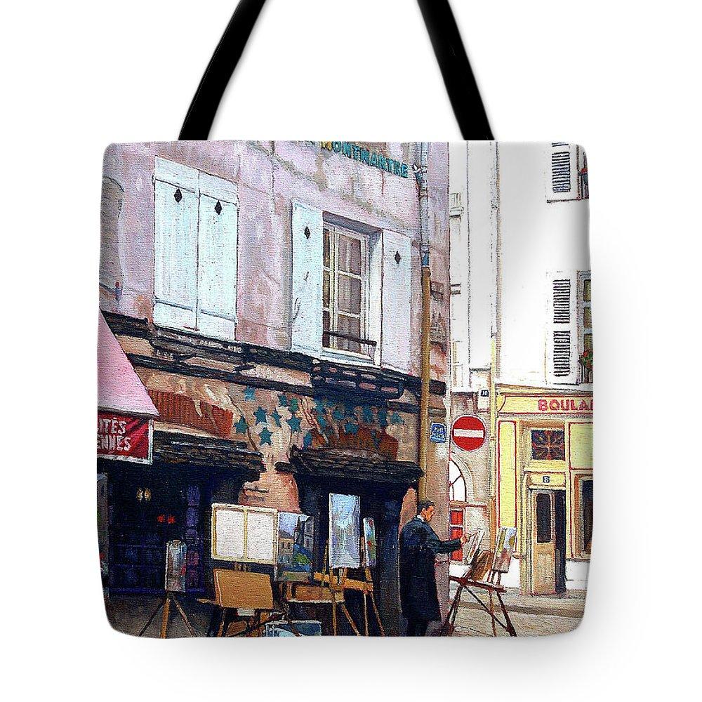 Paris - Urban Scene Tote Bag featuring the painting Un Artiste A La Place Du Tertre Paris. by Anthony Palmer