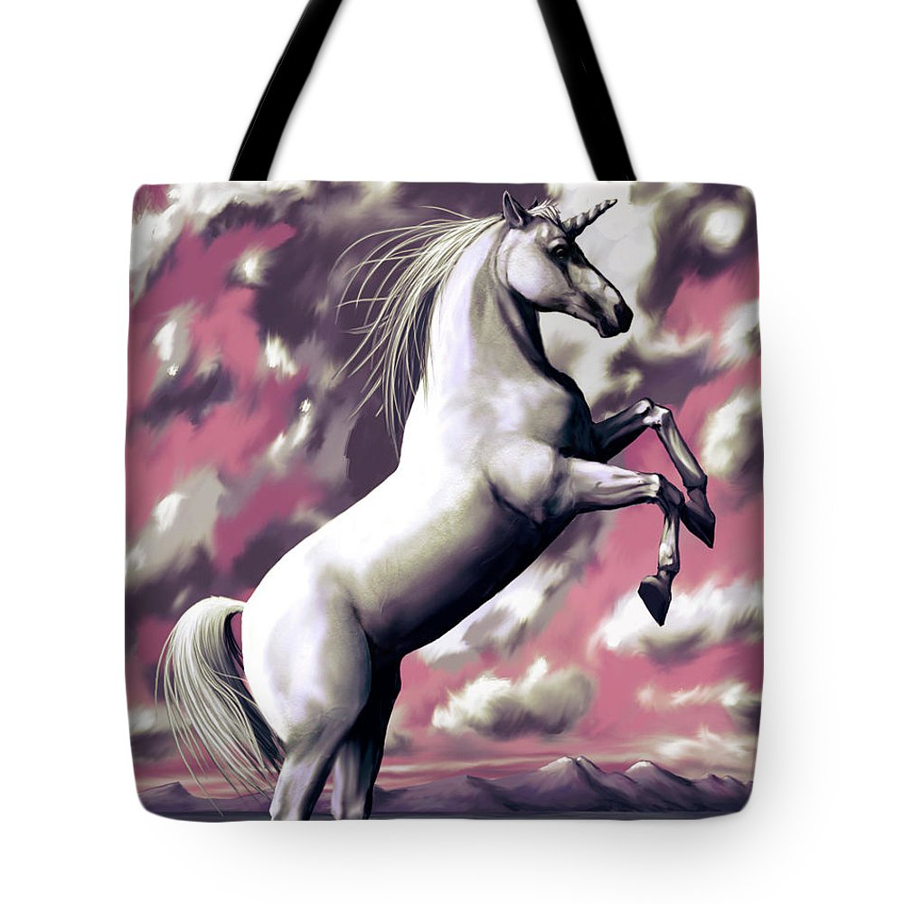 Unicorn Tote Bag featuring the digital art Unicorn by Sami Matilainen