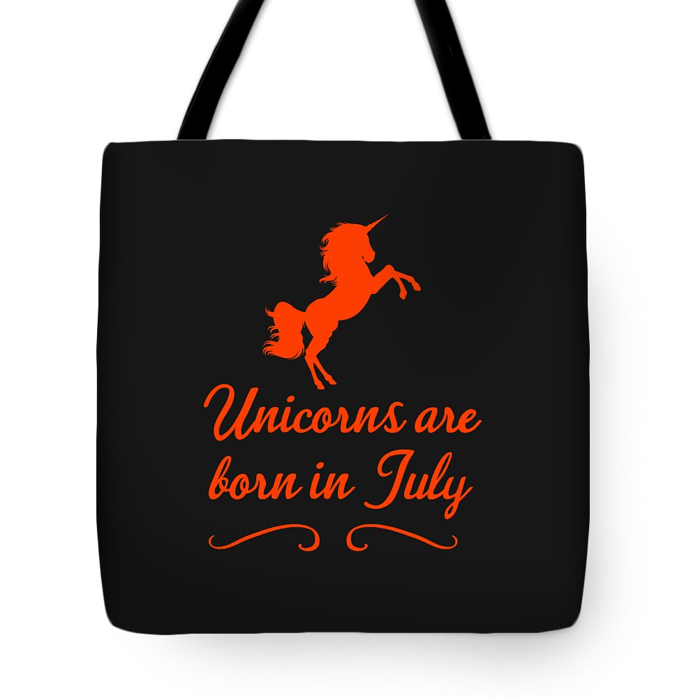 Unicorn-mug Tote Bag featuring the digital art Unicorns Are Born In July by Sourcing Graphic Design