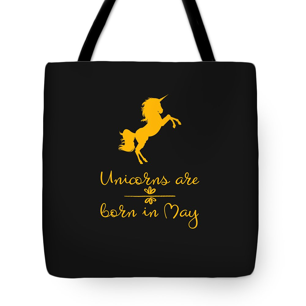 Unicorn-mug Tote Bag featuring the digital art Unicorns Are Born In May by Sourcing Graphic Design