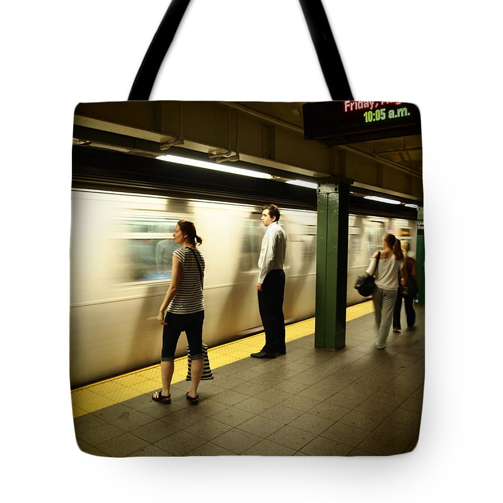 Subway Platform New York City Trains Station People Streetphotography Life Mundane Waiting Moving Walking Woman Men Time Energy Film Classic Vintage Scene Streets Tote Bag featuring the photograph Union Square Station No.1 by Salvatore Sgroi