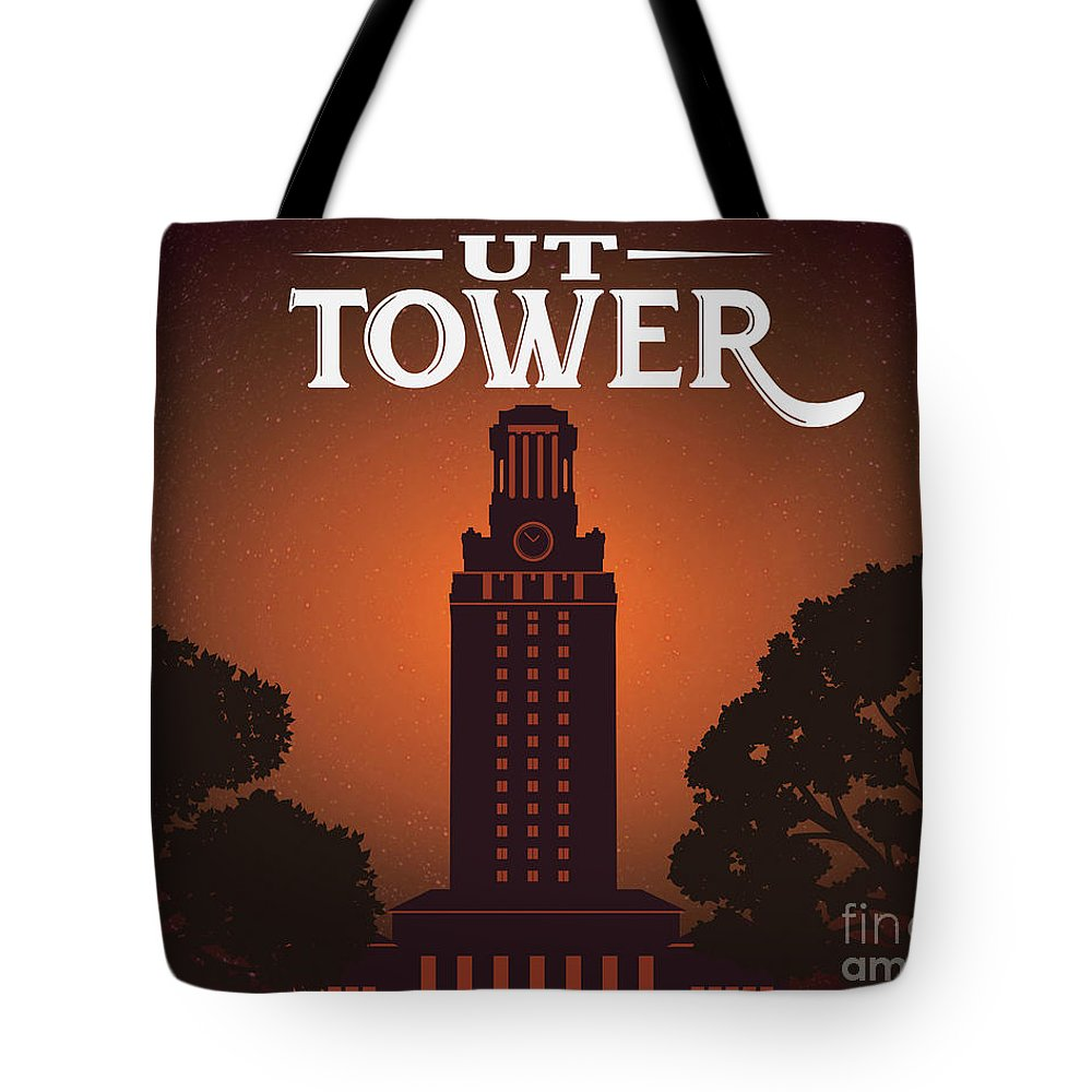 University Of Texas Tower Tote Bag featuring the digital art University Of Texas Tower by Austin Bat Tours