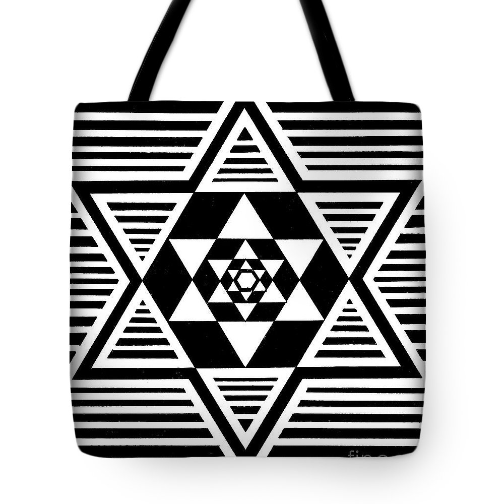 Star Tote Bag featuring the painting Untitled Symmetrical Star Design by Manuel Bennett
