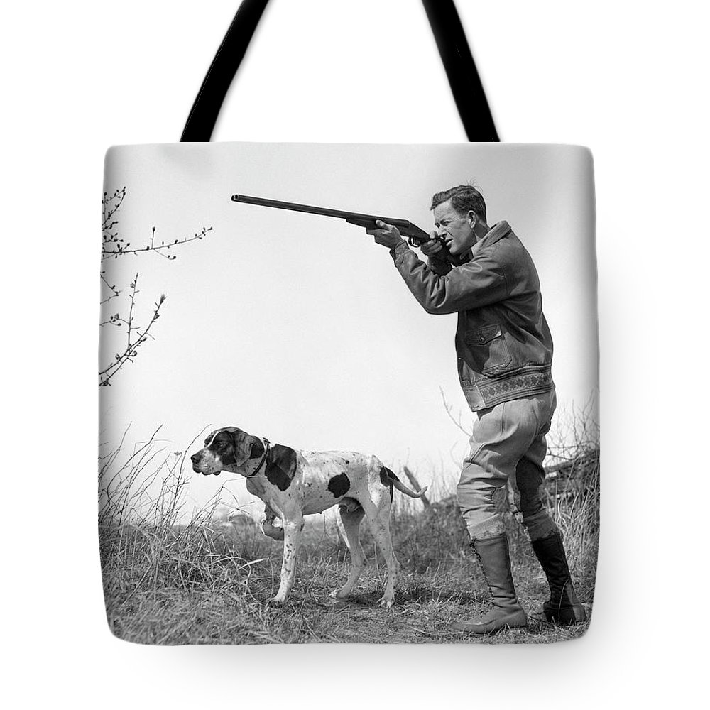 People Tote Bag featuring the photograph Upland Bird Hunter With Pointer Dog by H. Armstrong Roberts