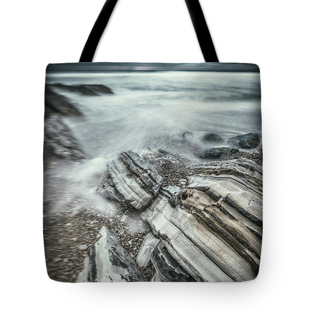 Ocean Tote Bag featuring the digital art Upon The Storm by Dariusz Stec